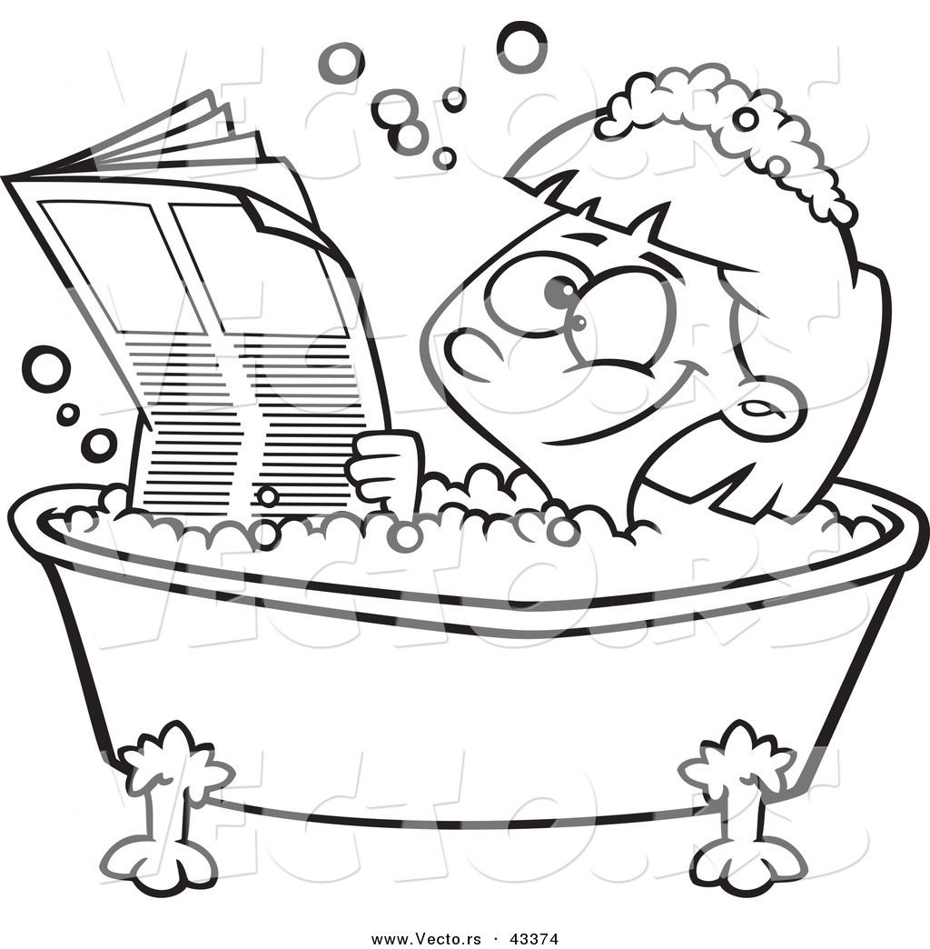 Vector of a Happy Cartoon Girl Reading the Newspaper in a Bath Tub ...