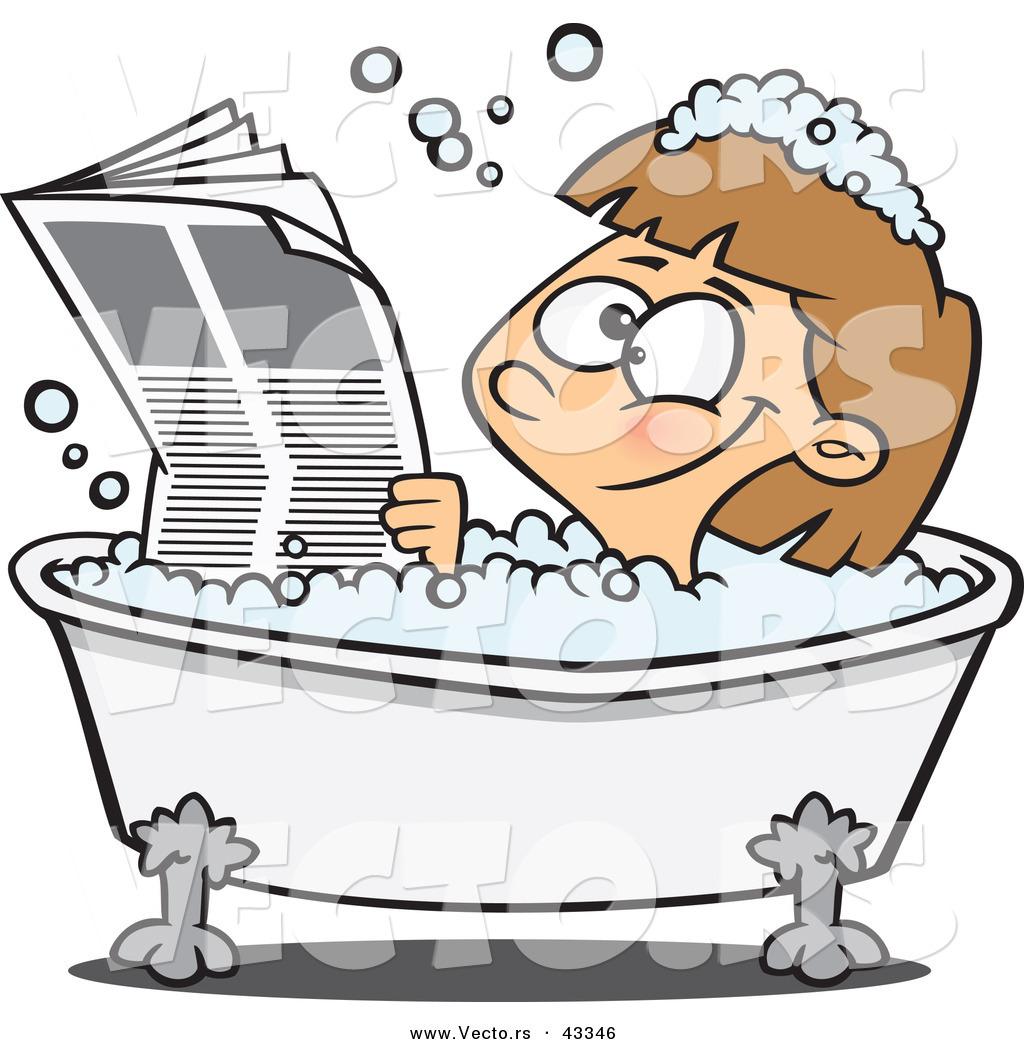 bathtub cartoon. Vector of a Happy Cartoon Girl Reading the Newspaper While Soaking in Hot  Bubbly Bath
