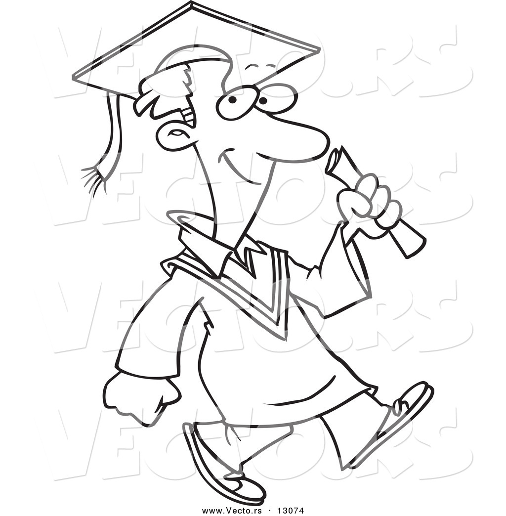 Free coloring pages graduation - Vector Of A Happy Cartoon Graduate Boy Walking Coloring Page Outline Version
