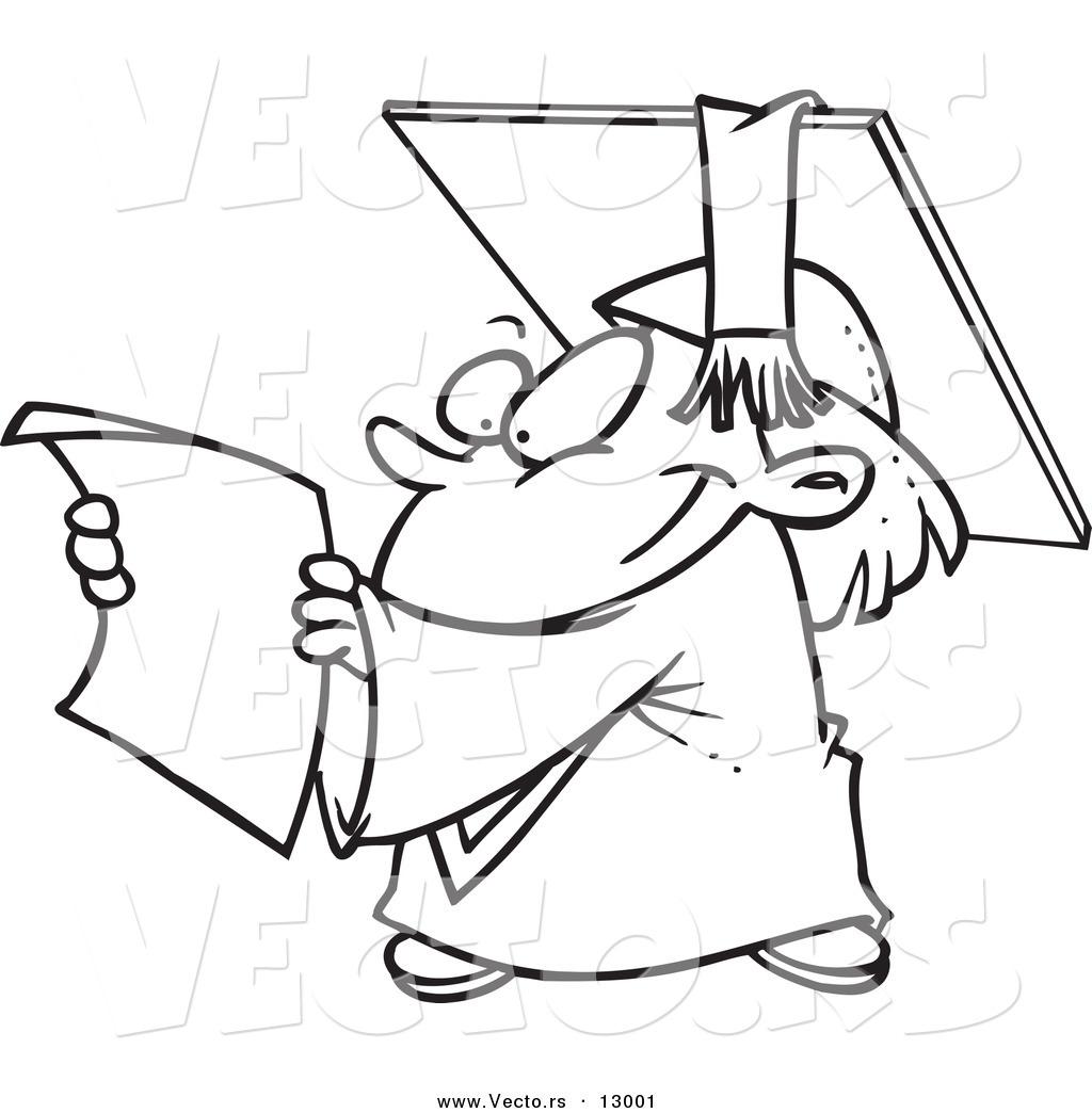 Vector Of A Happy Cartoon Graduate Reading Certificate