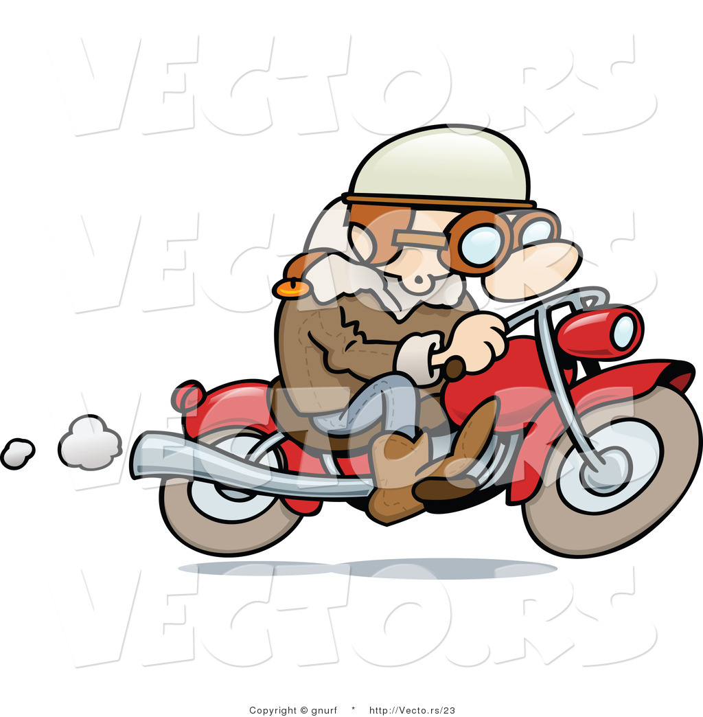 Vector of a Happy Cartoon Guy Riding His Motorcycle by gnurf - #23