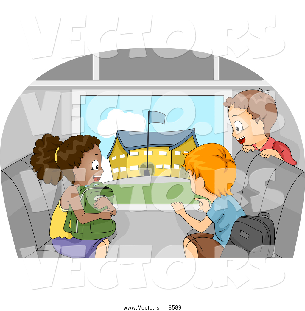 School Window Clipart vector of a happy cartoon kids viewing a school from a bus window