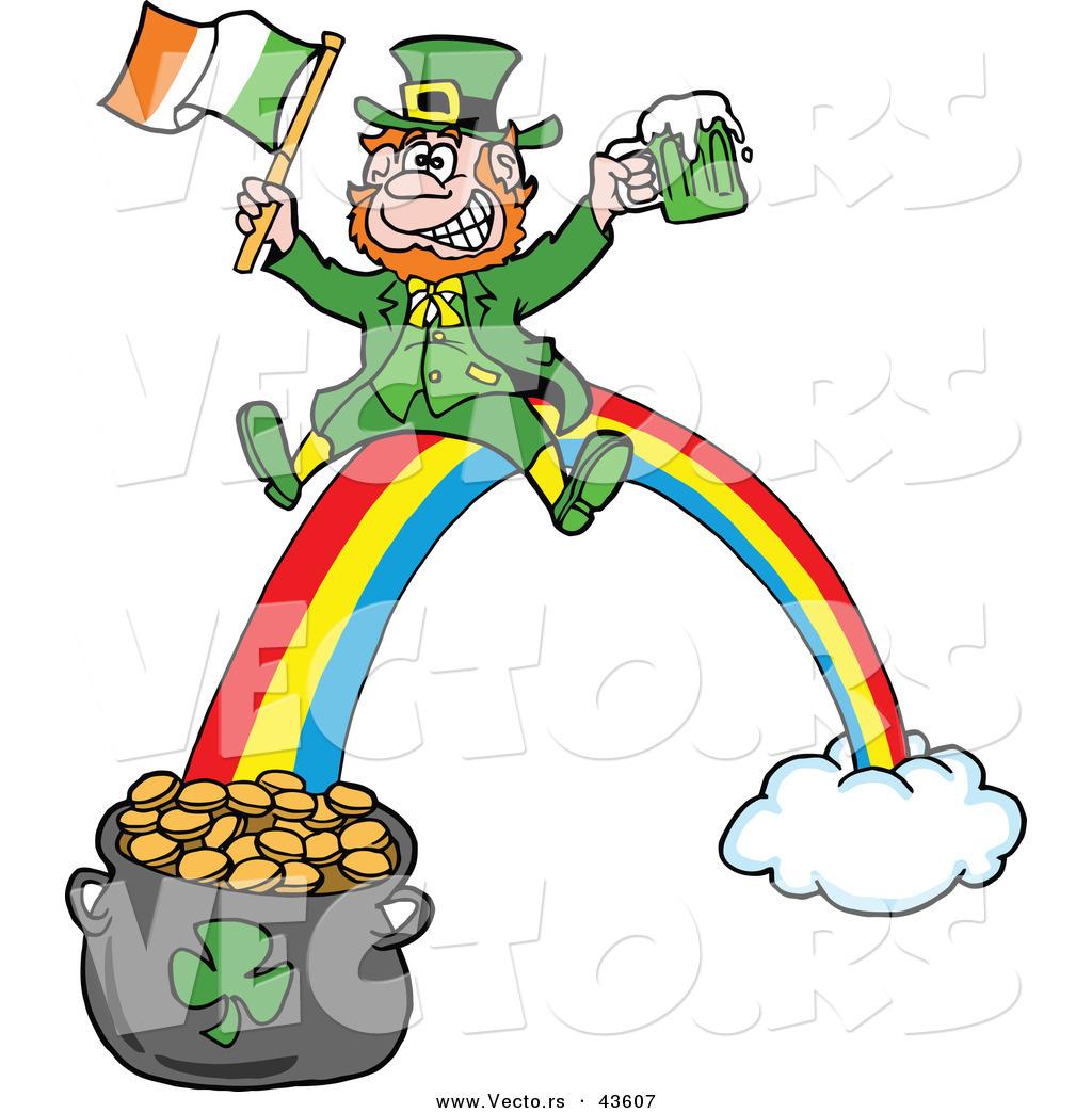 Vector of a Happy Cartoon Leprechaun Riding a Rainbow down ...