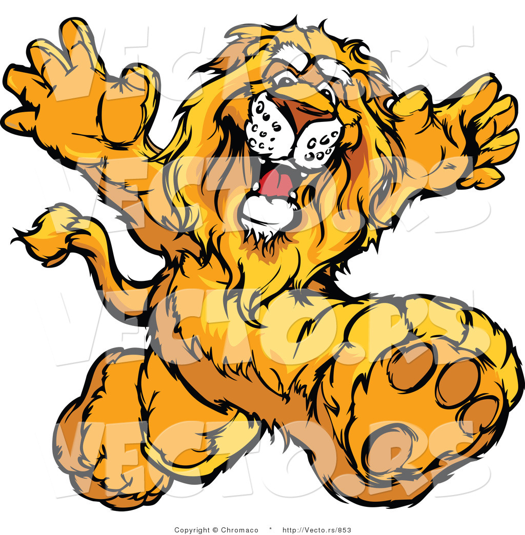 vector of a happy cartoon lion mascot running by chromaco 853