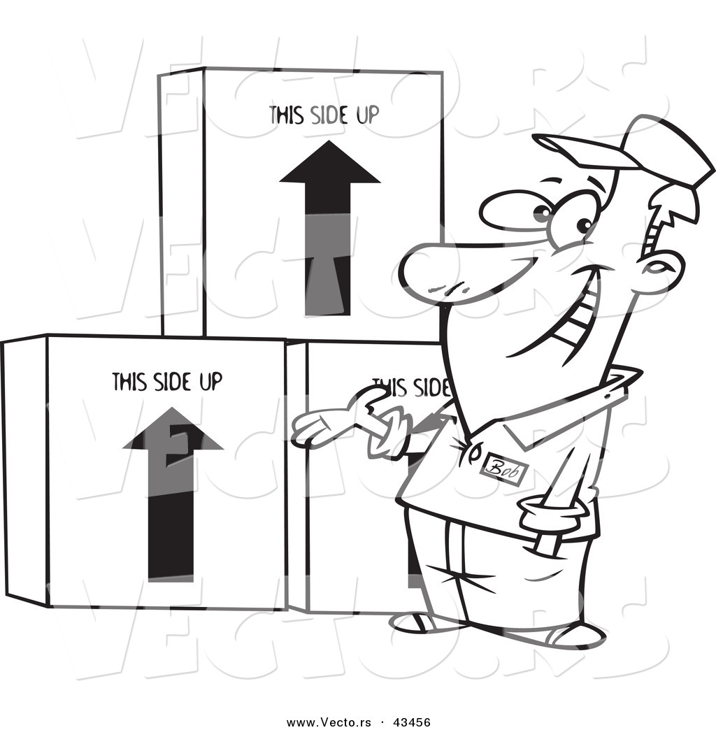 Vector of a Happy Cartoon Male Mover Presenting Boxes - Coloring ...