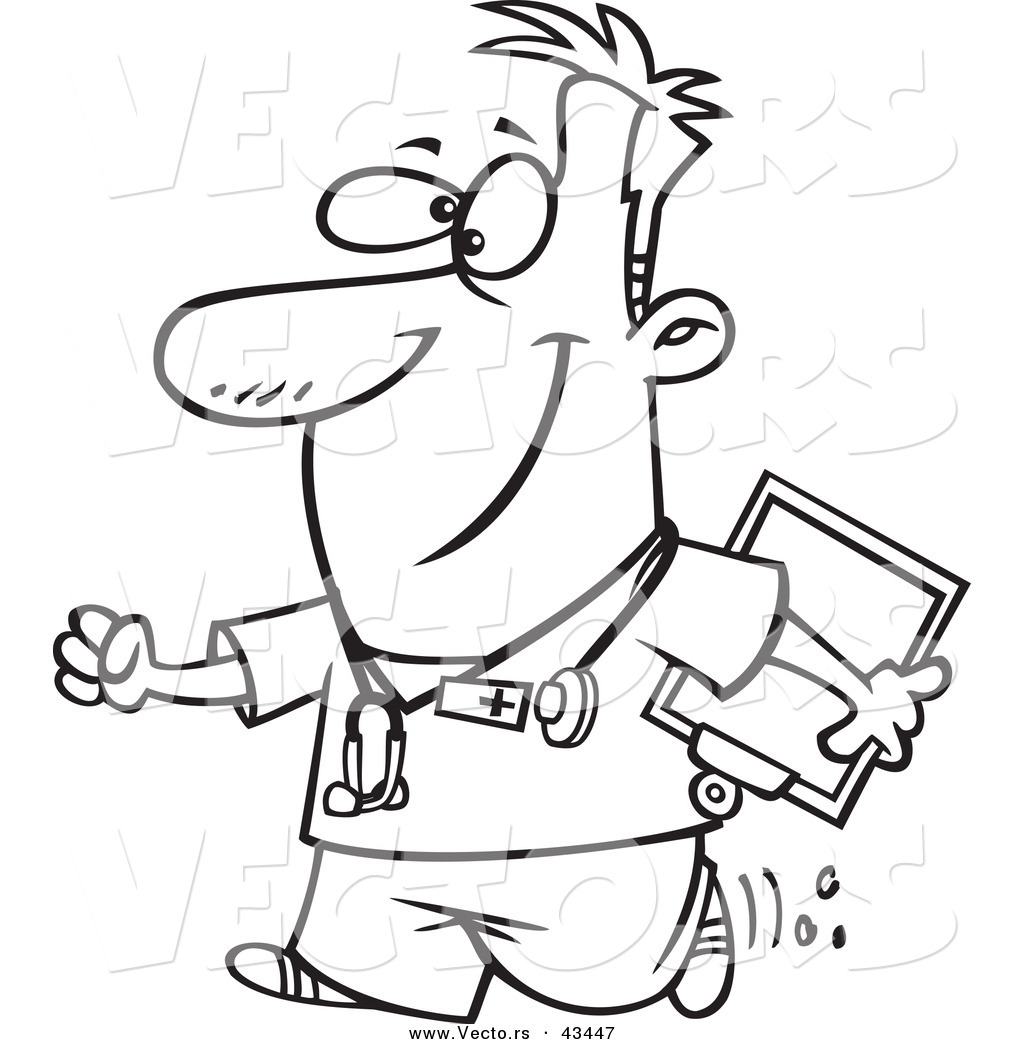 Vector Of A Happy Cartoon Male Nurse Carrying Clipboard