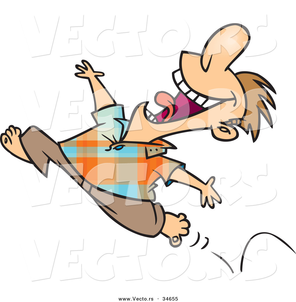 Cartoons pic of rainy day images amp pictures becuo - Vector Of A Happy Cartoon Man Running Barefoot While Jumping Into The Air