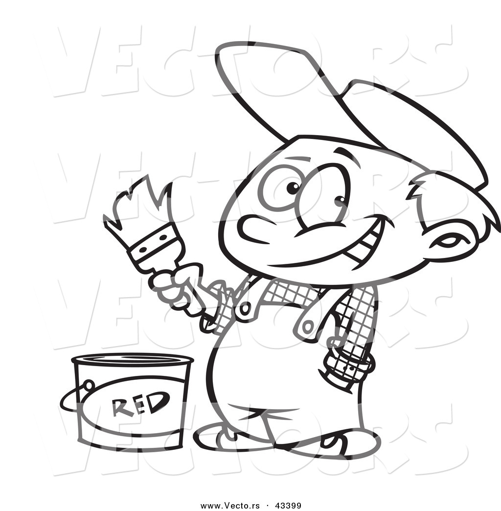 Vector Of A Happy Cartoon Painter Boy With Bucket Red Paint