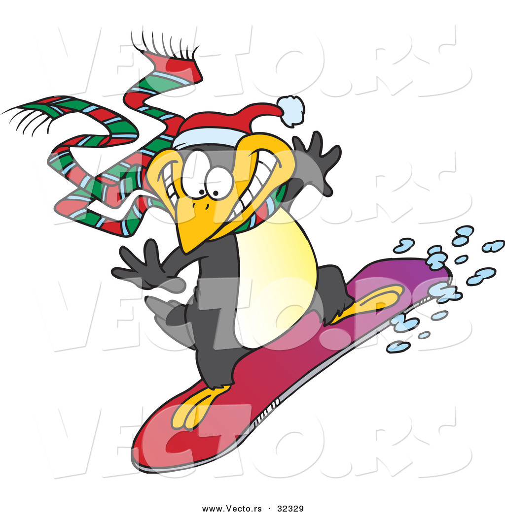 Vector Of A Happy Cartoon Penguin Snowboarding By Toonaday 32329