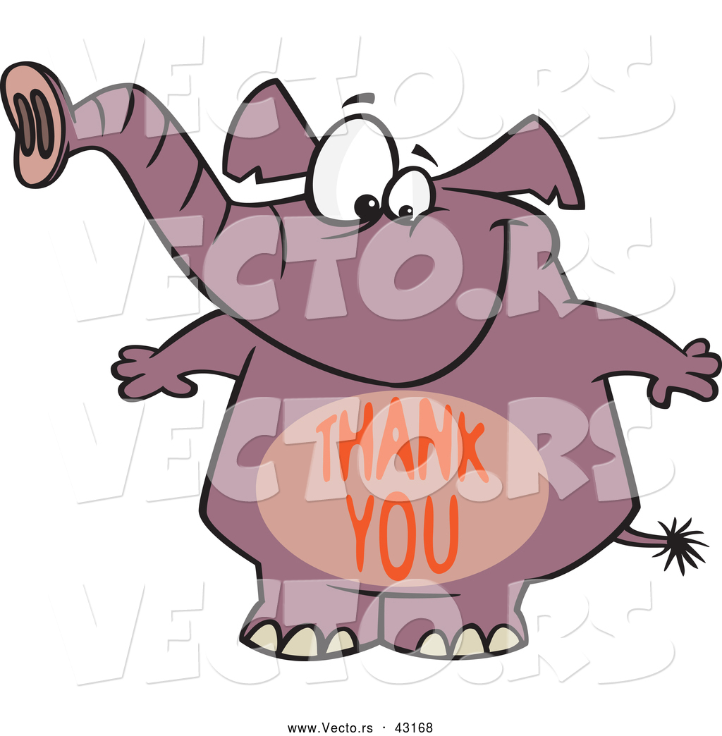 vector of a happy cartoon purple elephant with a thank you over