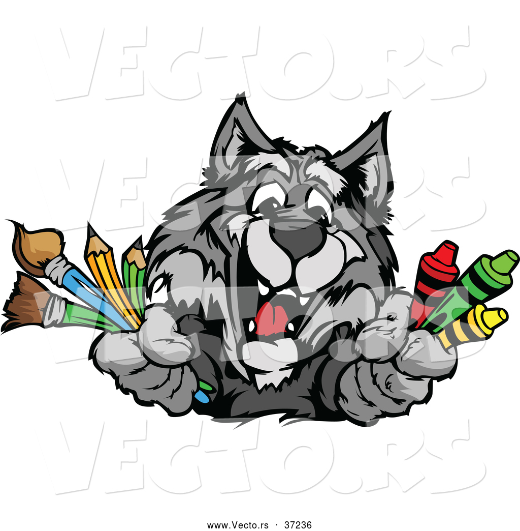Vector of a Happy Cartoon School Gray Wolf Mascot Holding Art ...