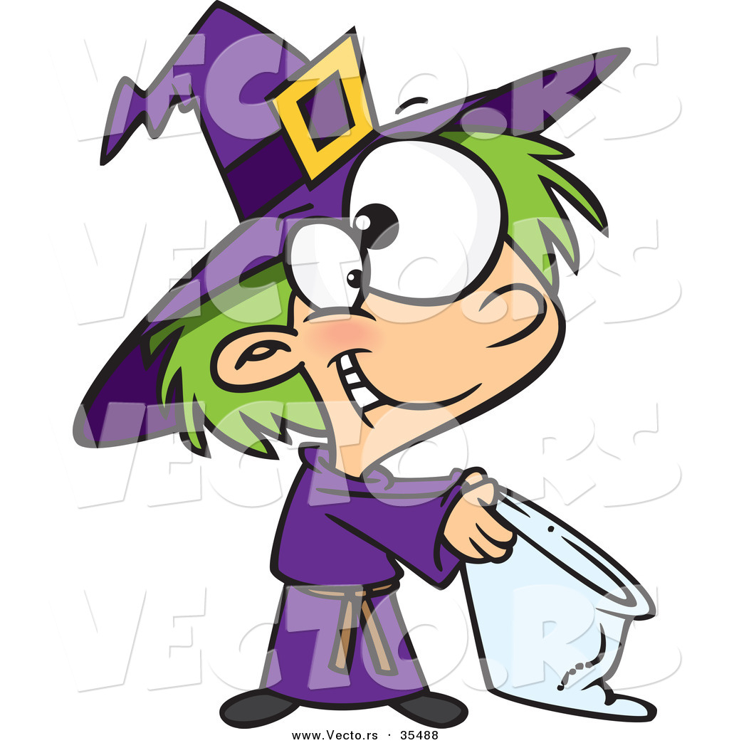 vector of a happy cartoon witch trick or treating on