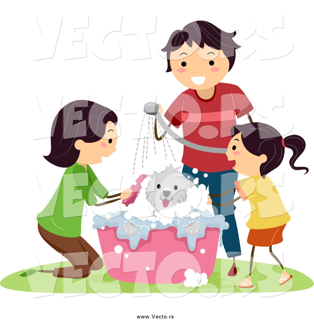 Vector Of A Happy Family Giving Their Dog A Bath By BNP