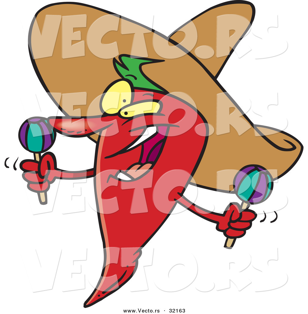 Vector Of A Happy Hot Cartoon Mexican Chili Pepper By Toonaday 32163 Celebration Peppers Coloring Pages For Adults