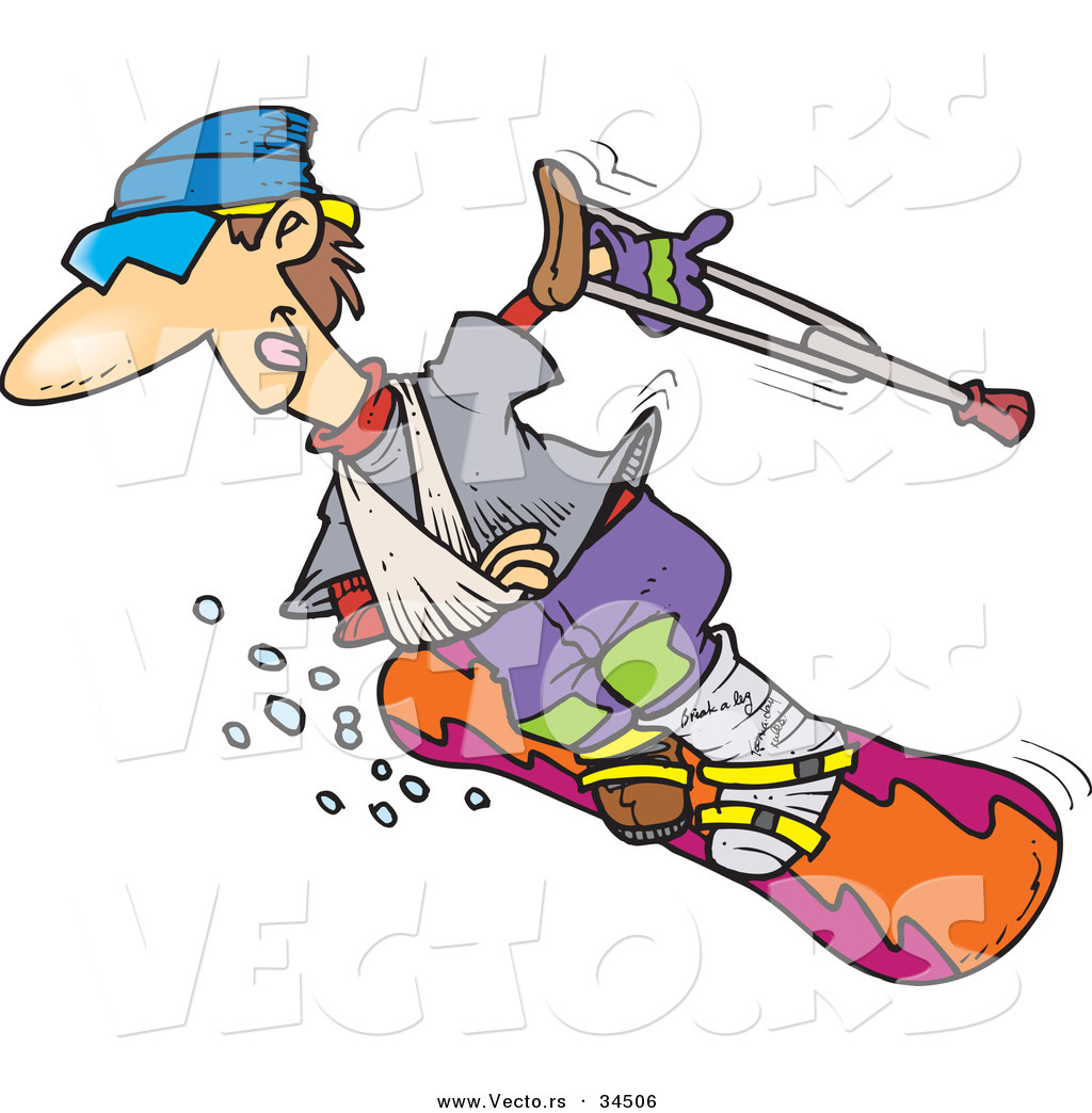 Vector Of A Happy Injured Cartoon Snowboarder Sliding Down A Ski Slope By Toonaday 34506