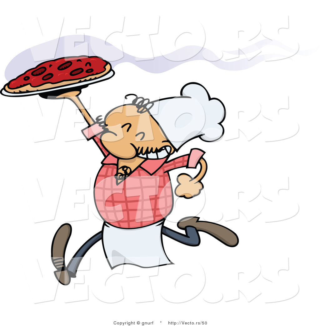 Vector Of A Happy Italian Caroon Chef Running With A Fresh Hot Pizza Pie By Gnurf 50
