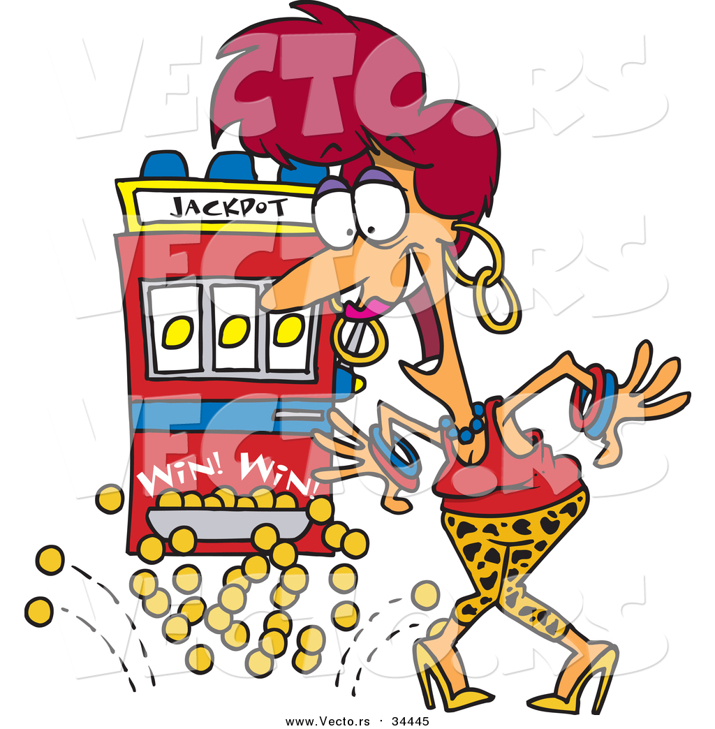 vector of a happy red head woman winning jackpot at a casino cartoon style by ron leishman slot machine clipart png slot machine clipart image