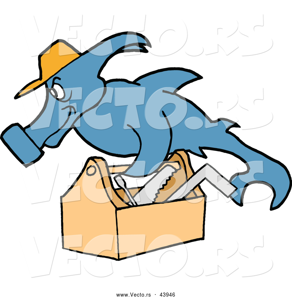 vector of a hard working cartoon hammerhead shark repair man