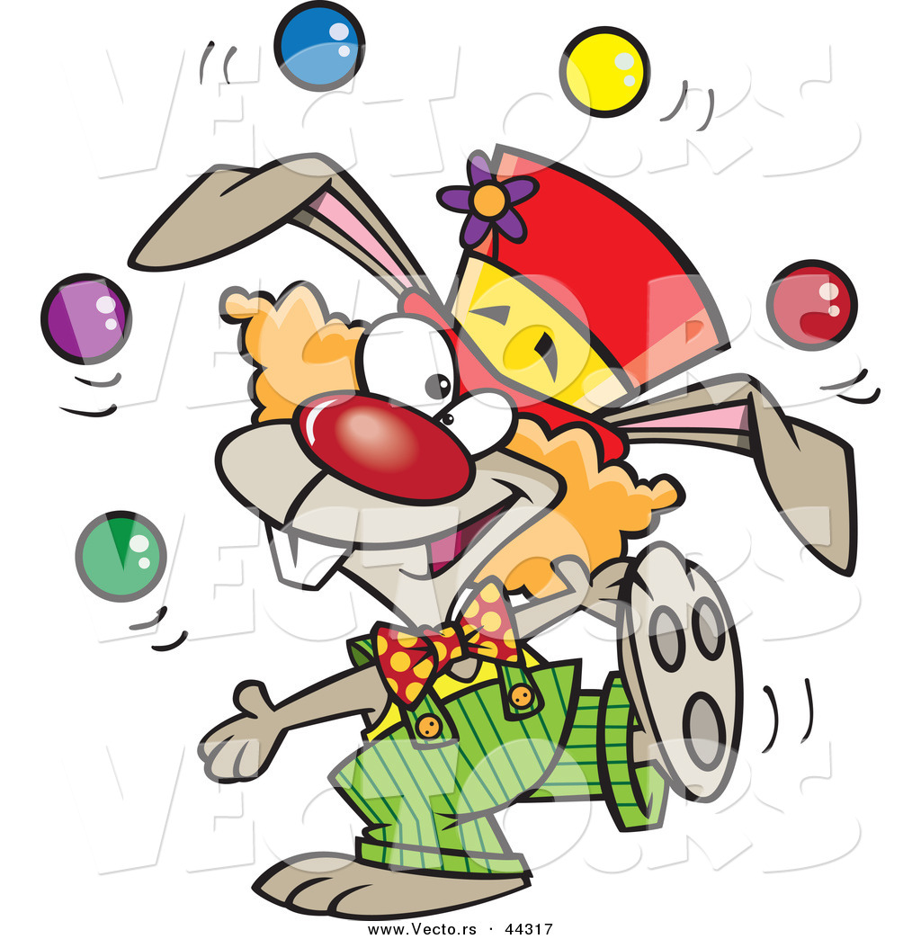 Vector of a Juggling Cartoon Clown Bunny by Ron Leishman - #44317
