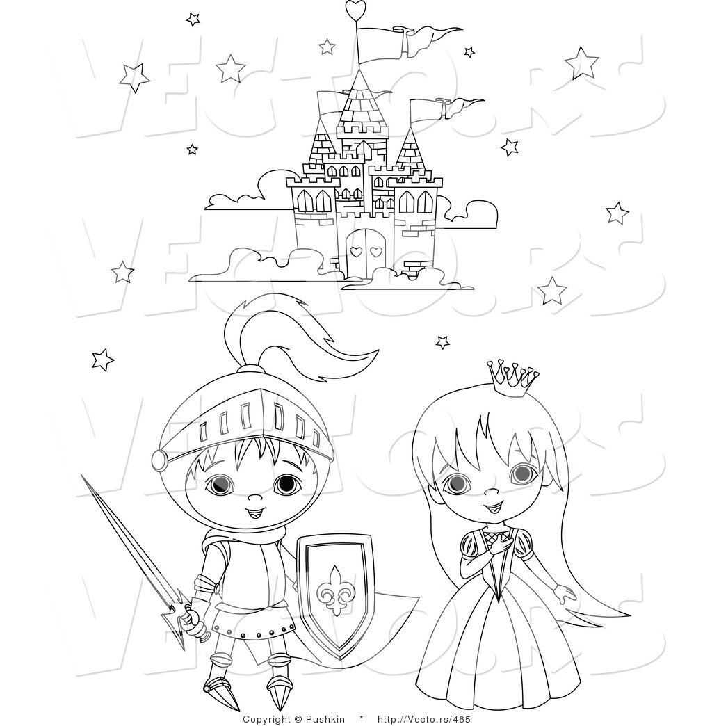 princess and the pea coloring page. vector of a knight and princess kids beside castle - coloring page the pea