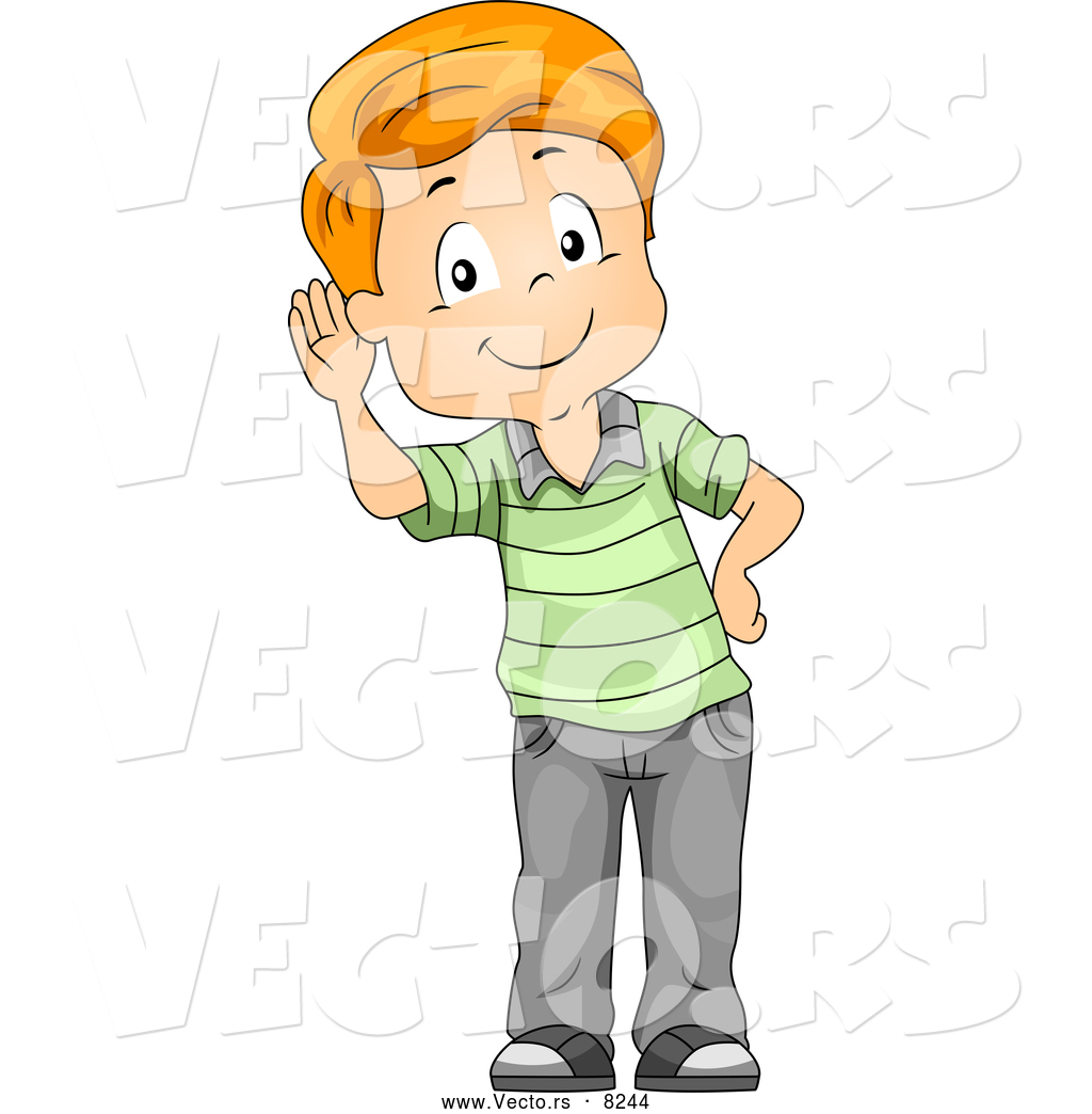 Vector Of A Listening Cartoon Boy Cupping His Ear While Smiling