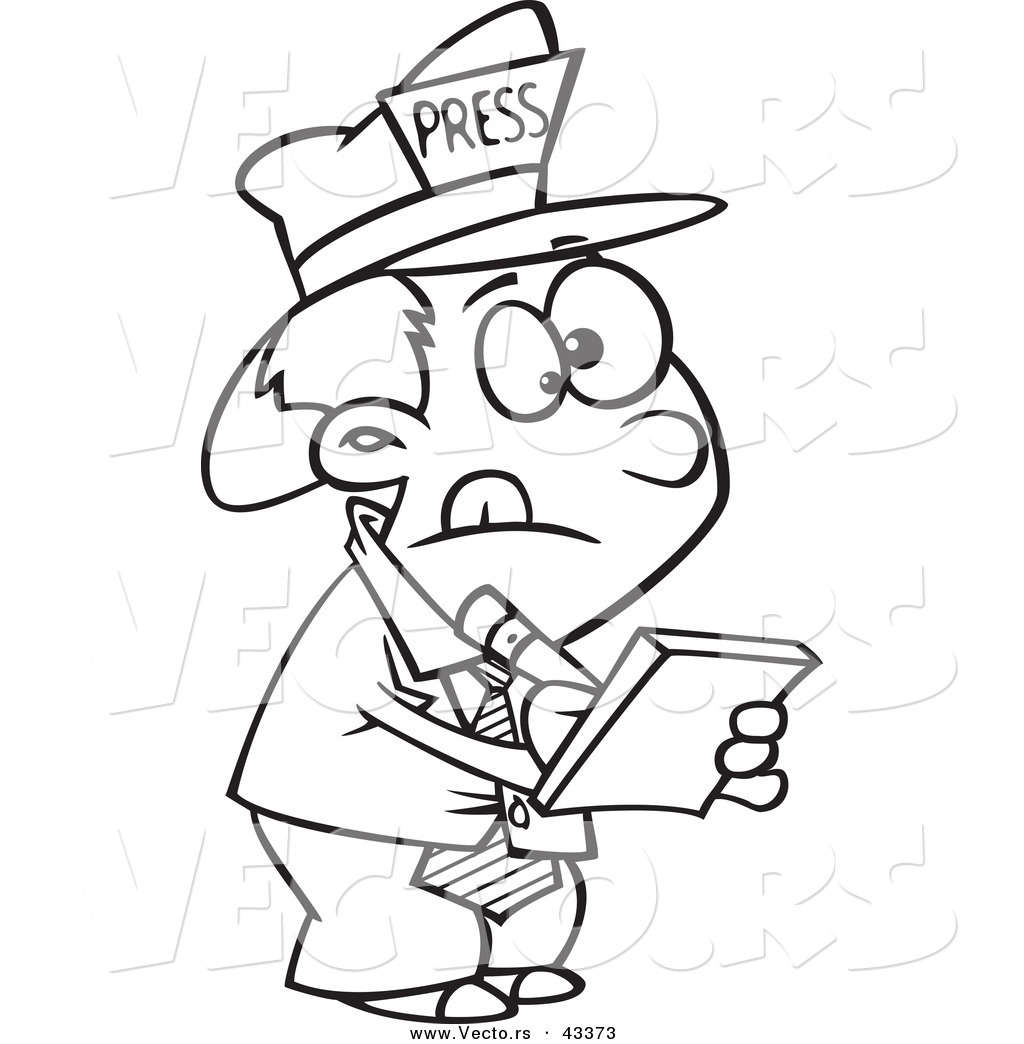 Vector Of A Listening Cartoon Reporter Boy Taking Notes