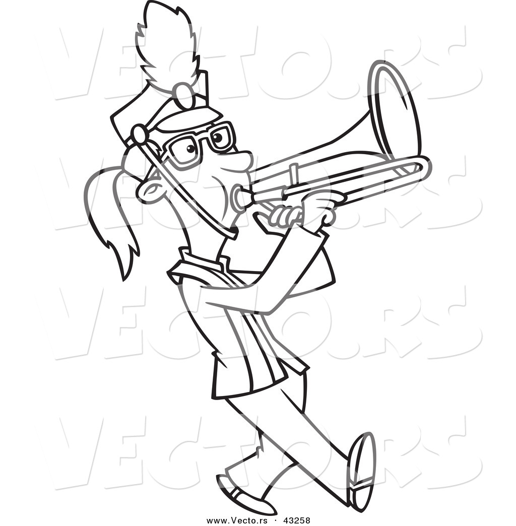 vector of a marching cartoon playing a trombone coloring
