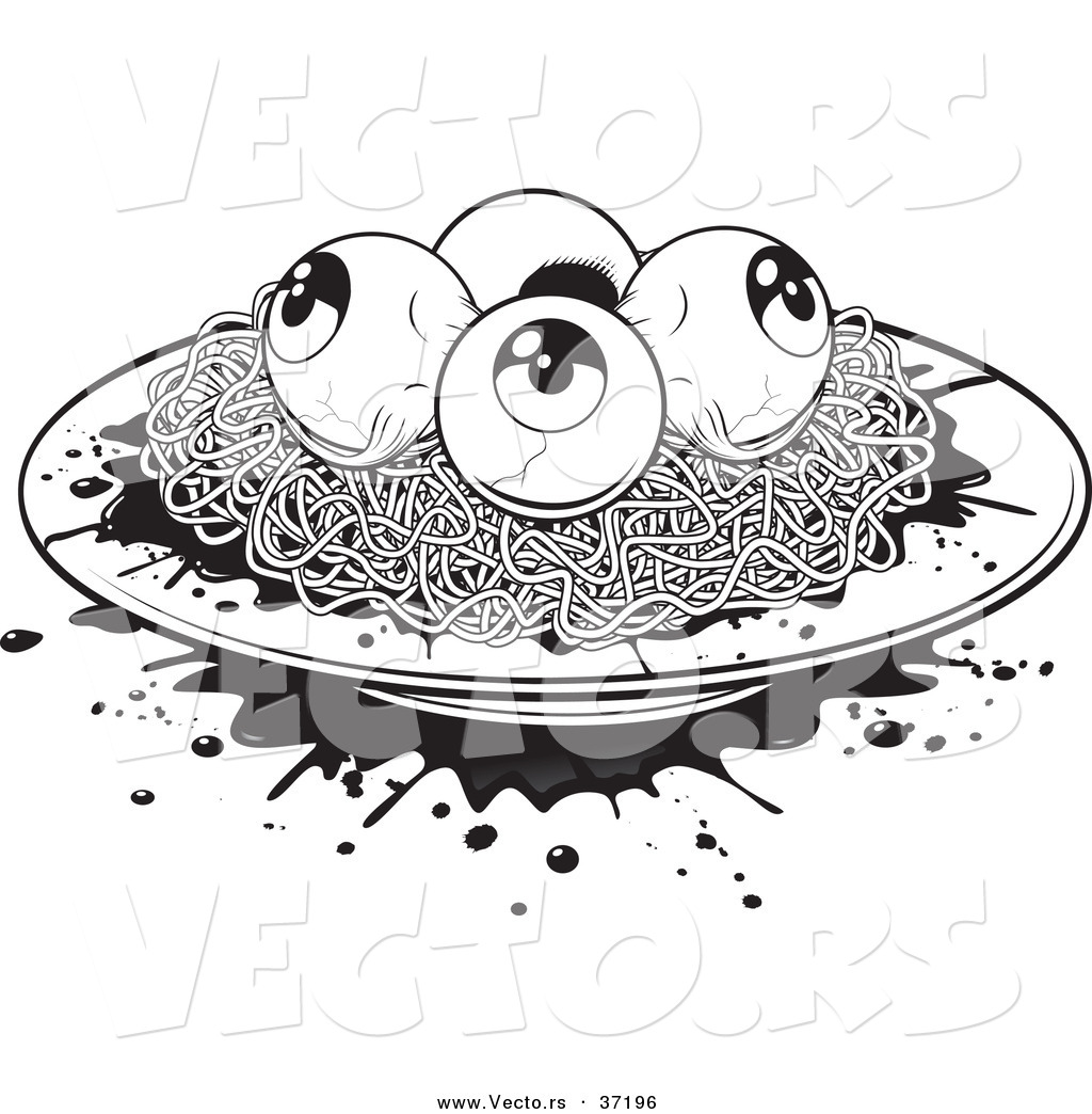 vector of a plate of spaghetti white eyeballs black and white