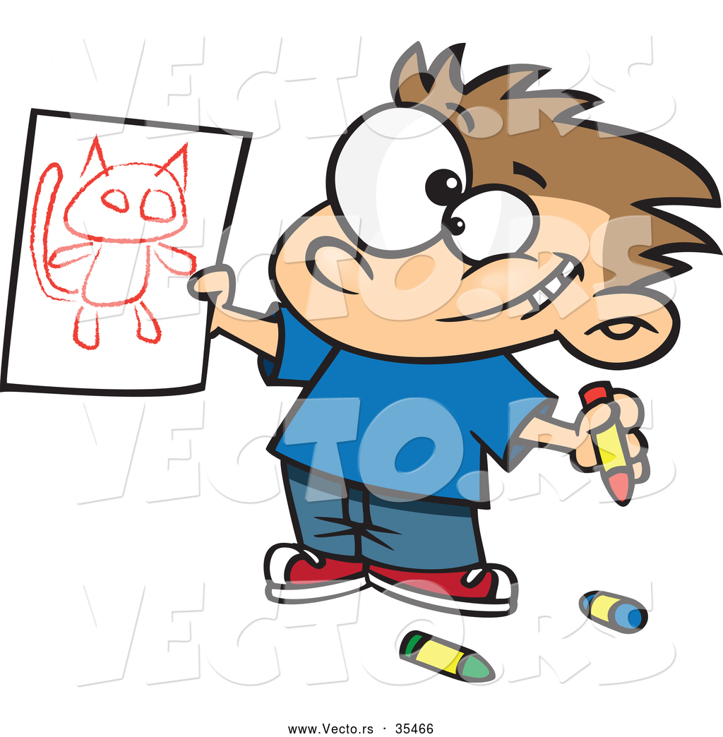 vector of a proud cartoon boy showing his cat drawing