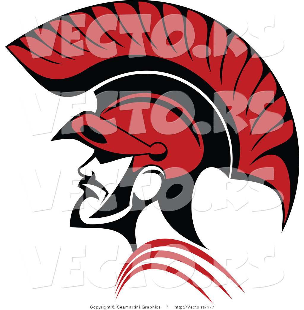 vector of a red roman soldier and helmet by vector tradition sm 477