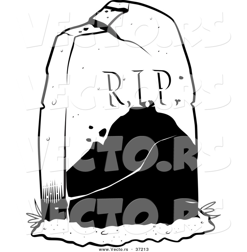 vector of a r i p tombstone in a cemetery black and white line rh vecto rs