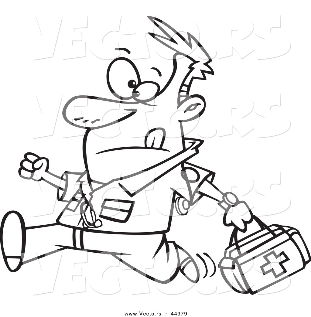 vector of a running cartoon male emt with a first aid kit coloring page outline