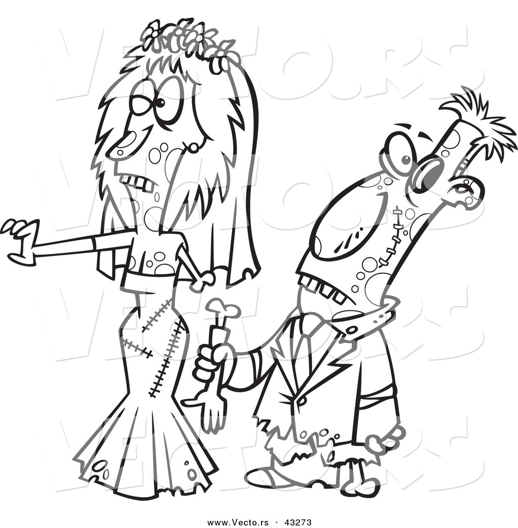 Vector of a Scary Cartoon Zombie Bride and Groom Walking Together