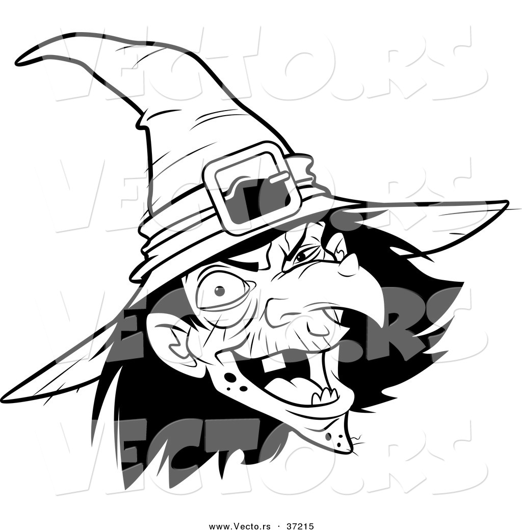 Line Drawing Of Witches Face : Vector of a scary witch laughing black and white line