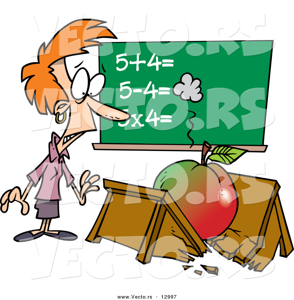 vector of a shocked cartoon teacher looking at broken desk with