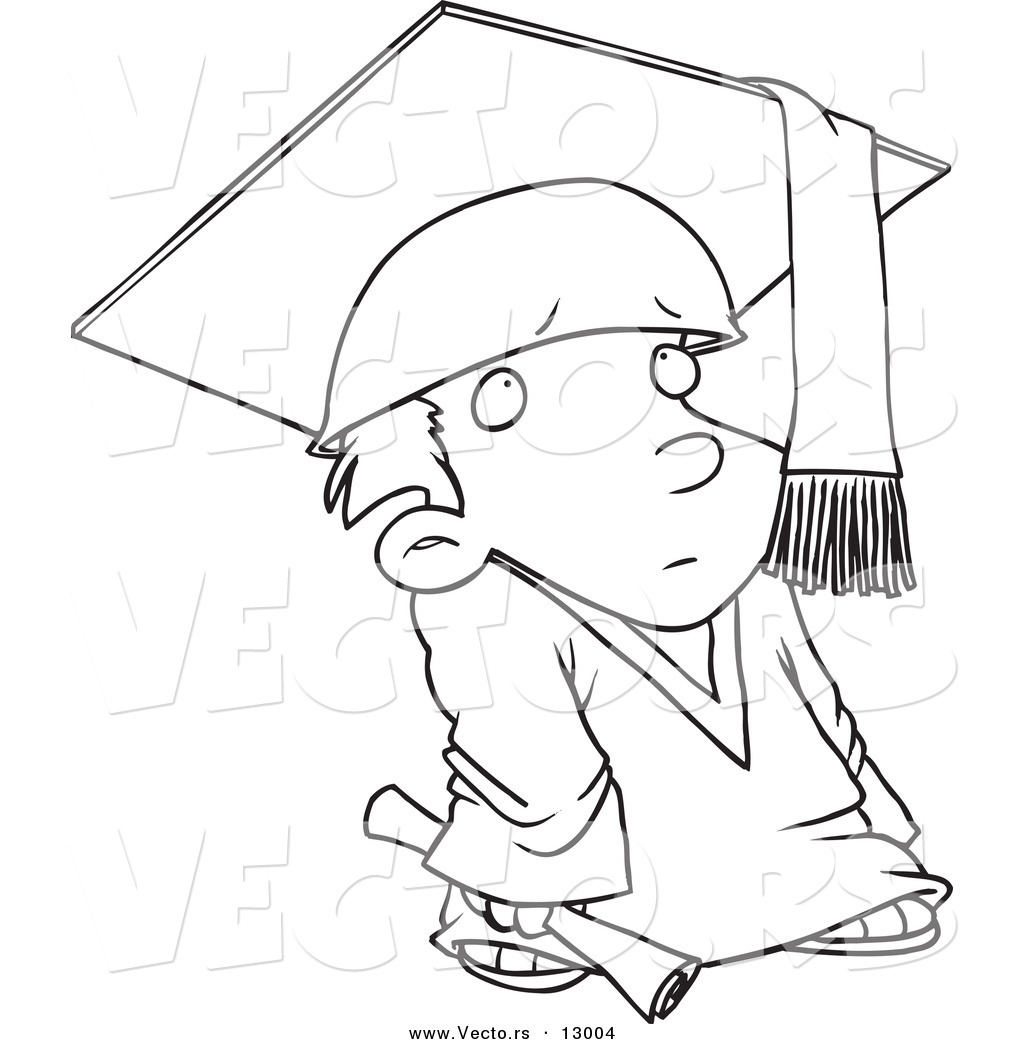 Vector Of A Shy Cartoon Graduate Boy