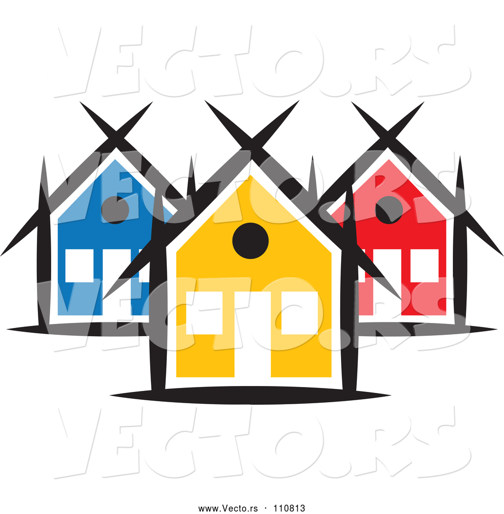 vector of a small neighborhood of colorful houses by colormagic rh vecto rs neighborhood clipart images neighborhood clip art black and white
