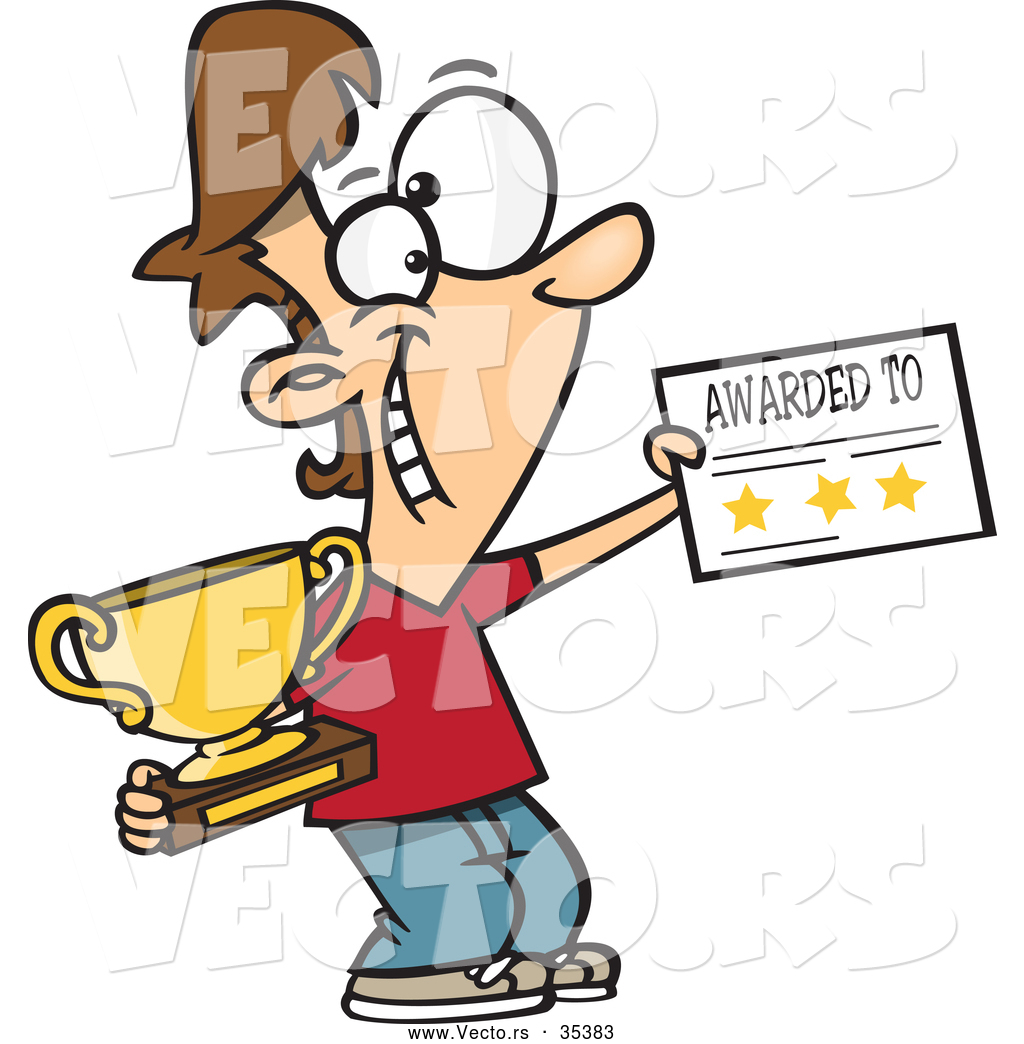 Vector of a Smiling Cartoon Boy Holding a Trophy and Certificate ...