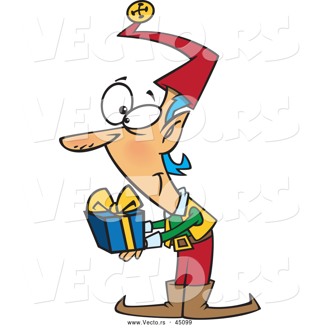 vector of a smiling cartoon christmas elf holding a present by