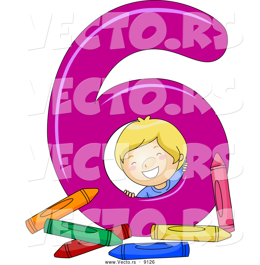 vector of a smiling cartoon school boy with 6 crayons beside the number six
