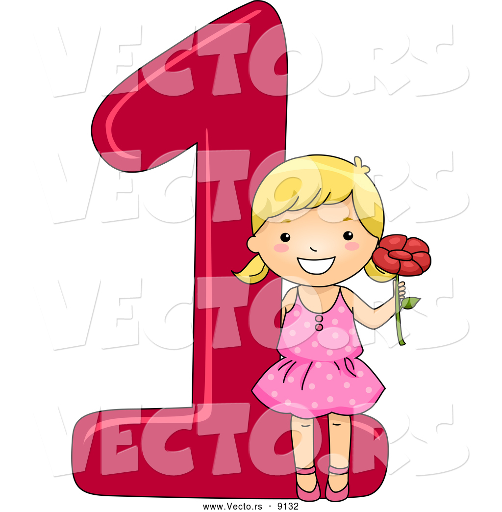 Vector of a Smiling Cartoon School Girl Holding 1 Flower Beside the ...