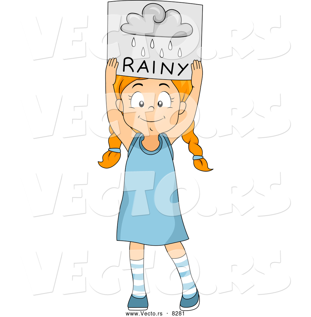 vector of a smiling cartoon holding a u0027rainy u0027 weather