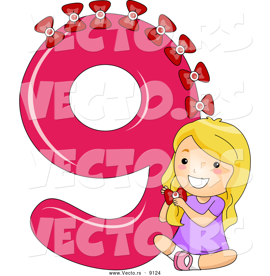 Vector of a Smiling Cartoon School Girl Putting 9 Bows on the Number ...