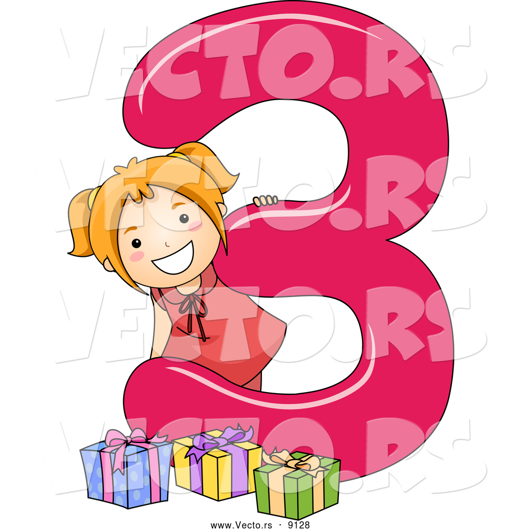 vector of a smiling cartoon school girl with 3 presents beside the number three