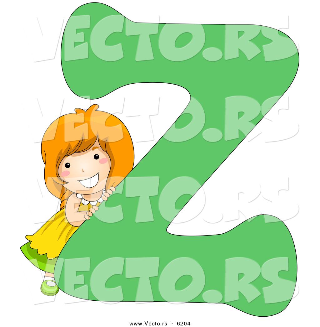 Vector of a Smiling Child Beside Alphabet Letter Z by BNP Design