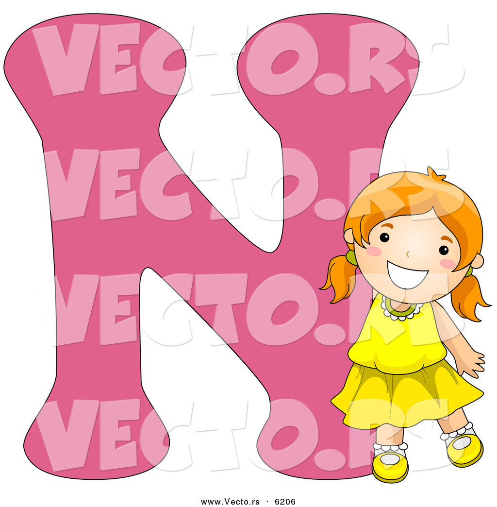 Vector of a Smiling Young Girl Beside Alphabet Letter N by BNP ...