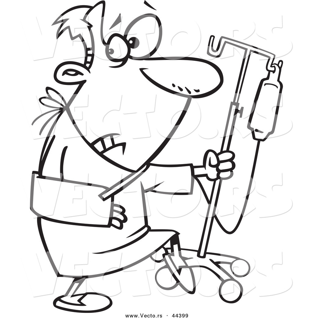 Free coloring pages hospital - Vector Of A Sneaky Cartoon Man Trying To Escape The Hospital Coloring Page Outline