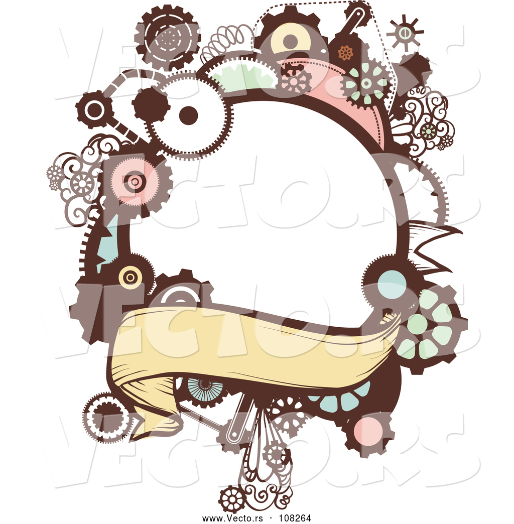 Vector of a Steampunk Frame with Gears and a Blank Banner by BNP ...