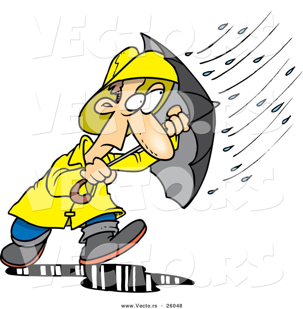 ... Walking Through a Nasty Rain Storm with an Umbrella by Ron Leishman