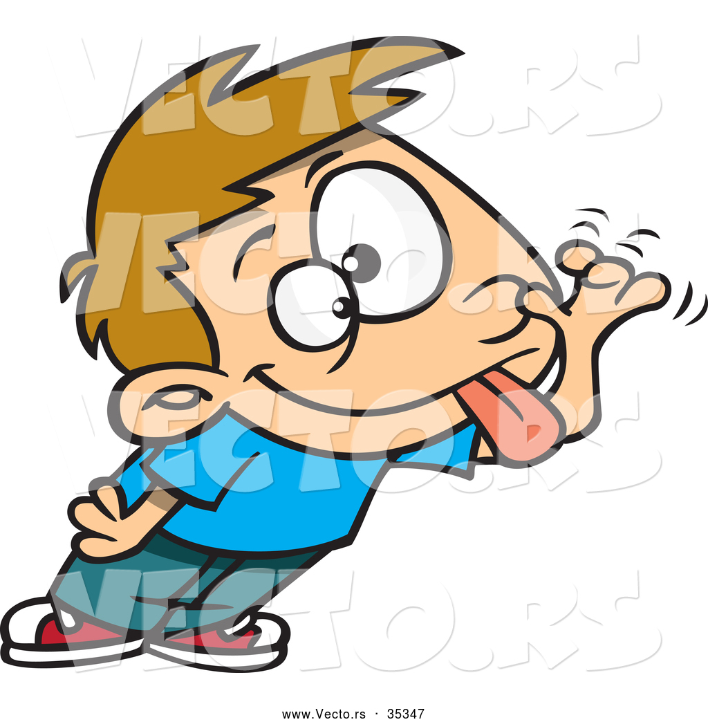 vector of a teasing cartoon boy sticking his tongue out and making a funny face - Cartoon Boy Images Free